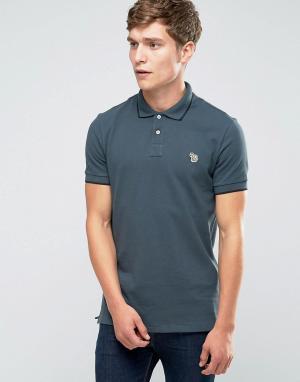 PS by Paul Smith Серая футболка-поло слим с логотипом. Цвет: серый