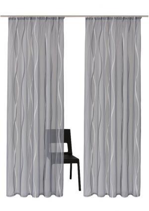 Гардины на окна, 2 штуки MY HOME. Цвет: белый/серебристый, серебристо-серый