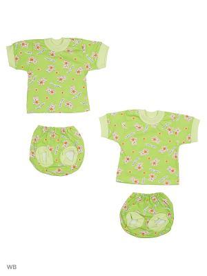 Комплект  белья 2 штуки Babycollection. Цвет: бежевый, салатовый