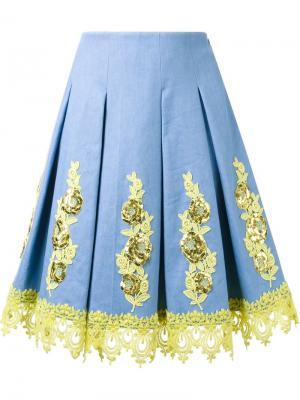 Юбка с цветочной аппликацией DressCamp. Цвет: синий