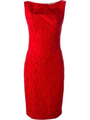 Приталенное кружевное жаккардовое платье Ermanno Scervino. Цвет: красный