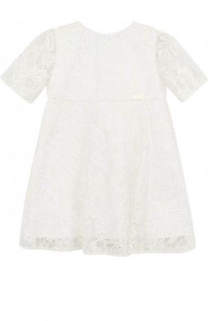 Платье с кружевной отделкой и завышенной талией I Pinco Pallino. Цвет: белый