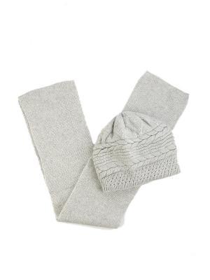 Комплект: шапка + шарф Bijoux Land. Цвет: серый