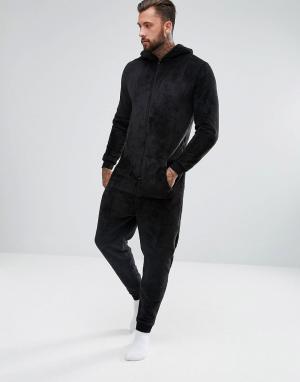 ASOS Комбинезон с капюшоном. Цвет: черный