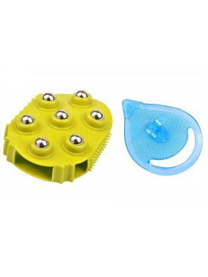 Набор массажных щеток для тела и лица Хоумспа RUGES. Цвет: голубой, желтый