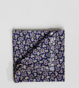 Heart & Dagger Платок для нагрудного кармана с принтом пейсли. Цвет: темно-синий