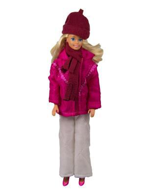 Пуховик, штаны, шапочка и шарфик для куклы 29 см Модница.. Цвет: бордовый