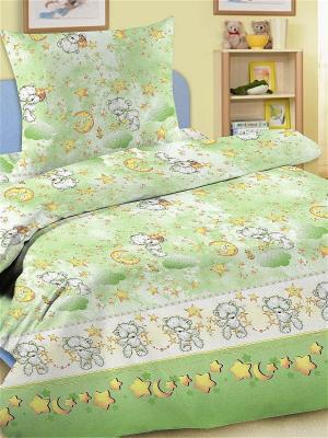 Комплект постельного белья, простыня на резинке Letto. Цвет: зеленый