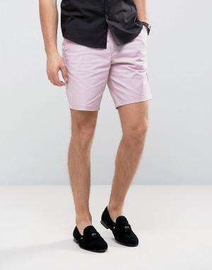 Burton Menswear Строгие узкие шорты чиносы. Цвет: розовый