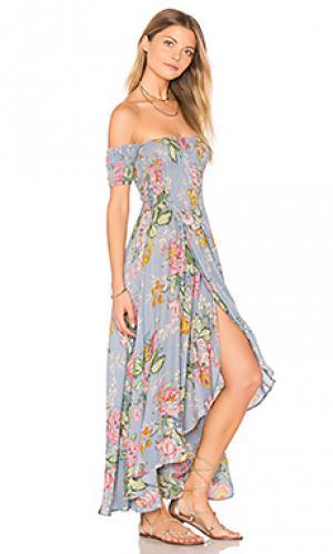 Макси платье с цветочным принтом boheme goddess AUGUSTE. Цвет: синий