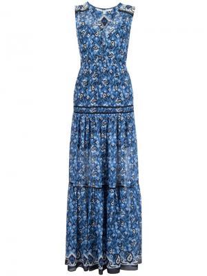 Платье макси c V-образным вырезом Veronica Beard. Цвет: синий