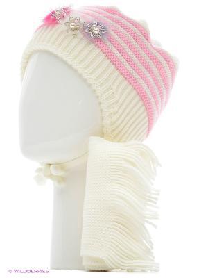 Шапка, шарф Tricotier. Цвет: белый, розовый