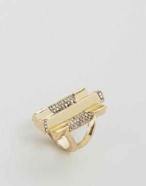 House of Harlow Золотистое кольцо с камнями. Цвет: золотой