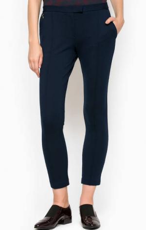 Синие укороченные брюки из вискозы POIS. Цвет: синий
