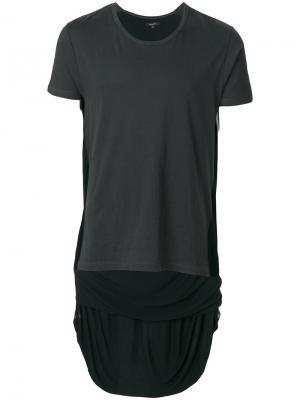 Асимметричная футболка Unconditional. Цвет: чёрный