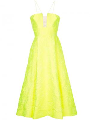Парчовое расклешенное вечернее платье Aaron Alex Perry. Цвет: жёлтый и оранжевый