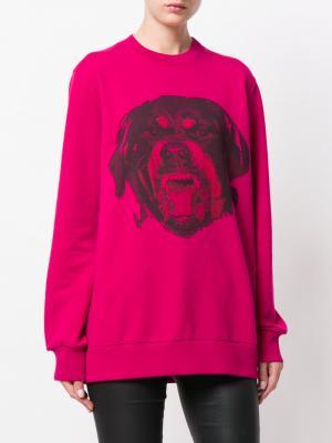 Толстовка  с принтом ротвейлера Givenchy. Цвет: розовый и фиолетовый