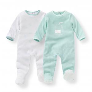 Комплект из 2 пижам хлопка 0 мес-3 лет R mini. Цвет: белый + синий/рисунок