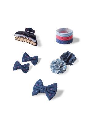 Комплект аксессуаров для волос URBAN Denim ESLI. Цвет: темно-синий, голубой, коралловый