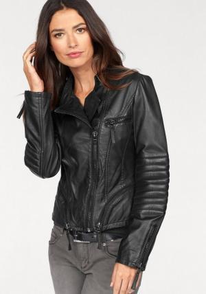 Laura Scott, кожаная куртка Otto. Цвет: черный