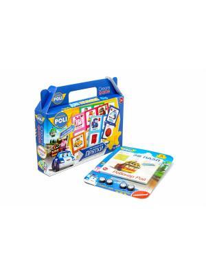Настольная игра в чемоданчике Робокар Поли Прятки с 3D пазлом-конструктором комплекте. Robocar Poli. Цвет: синий, зеленый, розовый