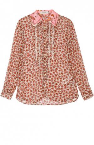 Шелковая блуза прямого кроя с цветочным принтом и оборками Coach. Цвет: разноцветный
