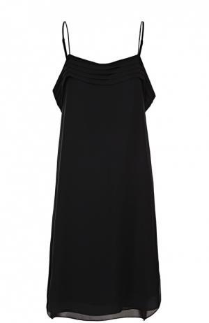 Шелковое платье с открытыми плечами и оборками T by Alexander Wang. Цвет: черный