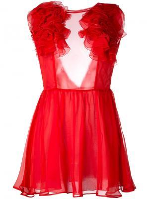 Платье с оборками Daniele Carlotta. Цвет: красный