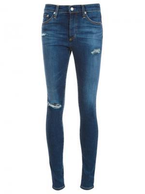 Джинсы скинни с рваными деталями Ag Jeans. Цвет: синий