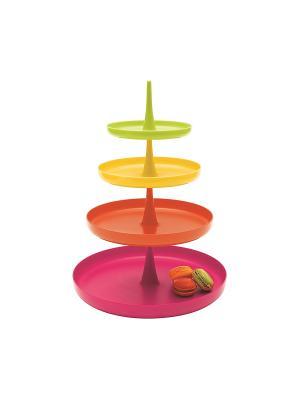 Тортница/SOMBRERO/розовый+зеленый Zak!designs. Цвет: красный