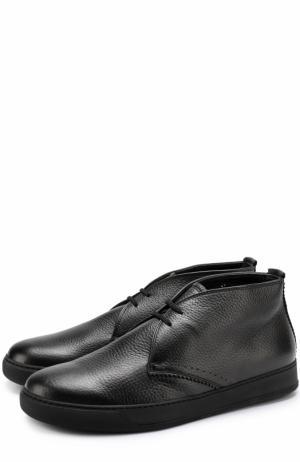 Кожаные ботинки на шнуровке с внутренней меховой отделкой H`D`S`N Baracco. Цвет: черный
