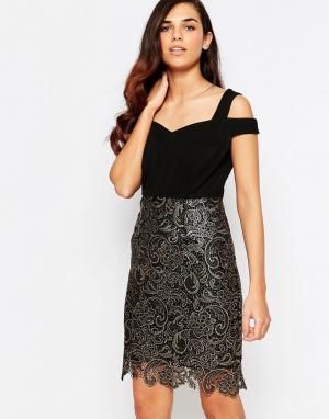 Lashes of London Платье с кружевом Evie. Цвет: черный