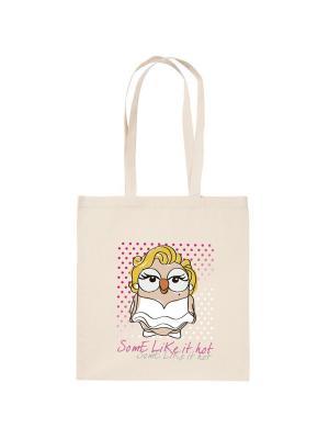 Холщовая сумка с совой Мэрилин Монро Goofi. Цвет: бежевый