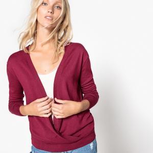 Пуловер с запахом La Redoute Collections. Цвет: серый меланж,фиолетовый,черный,экрю меланж
