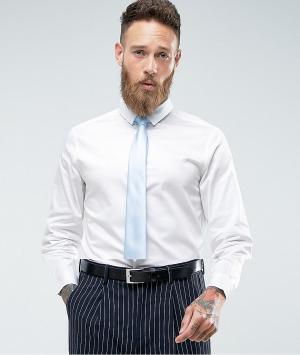ASOS Белая облегающая рубашка с синим галстуком Wedding. Цвет: белый