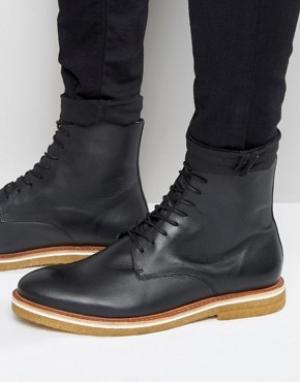 Zign Кожаные ботинки на шнуровке с каучуковой подошвой. Цвет: черный