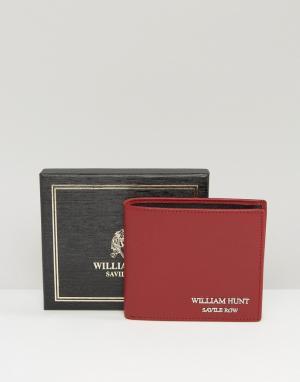 William Hunt Бордовый кожаный бумажник с черной подкладкой. Цвет: красный