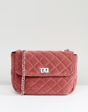 Pieces Стеганая сумка с цепочкой. Цвет: розовый