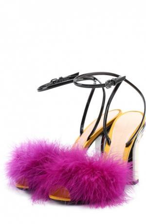Босоножки с отделкой пером на фигурном каблуке Marco de Vincenzo. Цвет: разноцветный