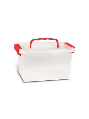 Контейнер с крышкой 24х17х14 см, пластик Primo. Цвет: прозрачный, красный