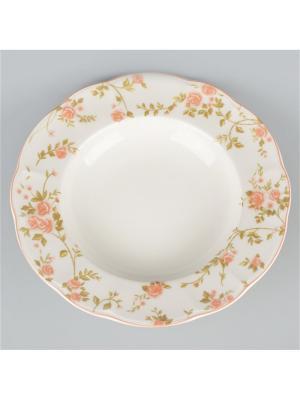 Набор 6 суповых тарелок 23см. Садовая Роза Quality Ceramic. Цвет: белый