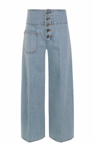 Расклешенные джинсы с потертостями и стрелками Marc Jacobs. Цвет: голубой