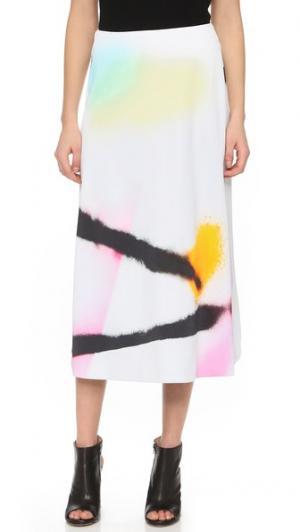 Принтованная юбка Josh Goot. Цвет: белый, распыленная краска