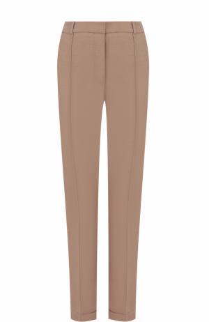 Укороченные брюки прямого кроя со стрелками BOSS. Цвет: коричневый