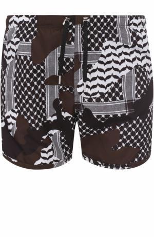 Плавки-шорты с принтом Neil Barrett. Цвет: хаки