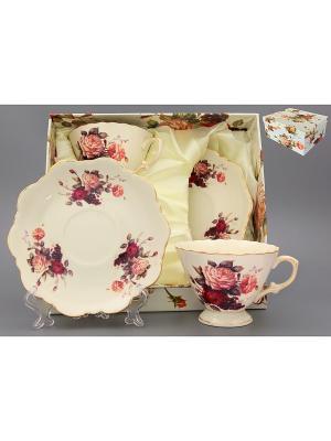 Чайная пара бежевая Бархатный нектар Elan Gallery. Цвет: бежевый, красный, розовый