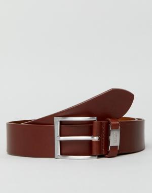 BOSS Светло-коричневый гладкий кожаный ремень с логотипом. Цвет: рыжий
