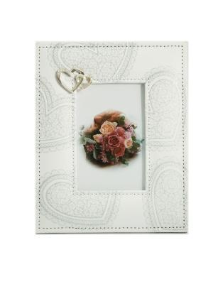 Фоторамка Кружевное сердце Русские подарки. Цвет: белый