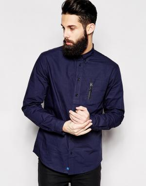 2 x H Brothers Рубашка с карманом на молнии 2xH. Цвет: синий