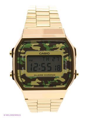 Часы Casio A-168WEGC-3E. Цвет: золотистый, зеленый